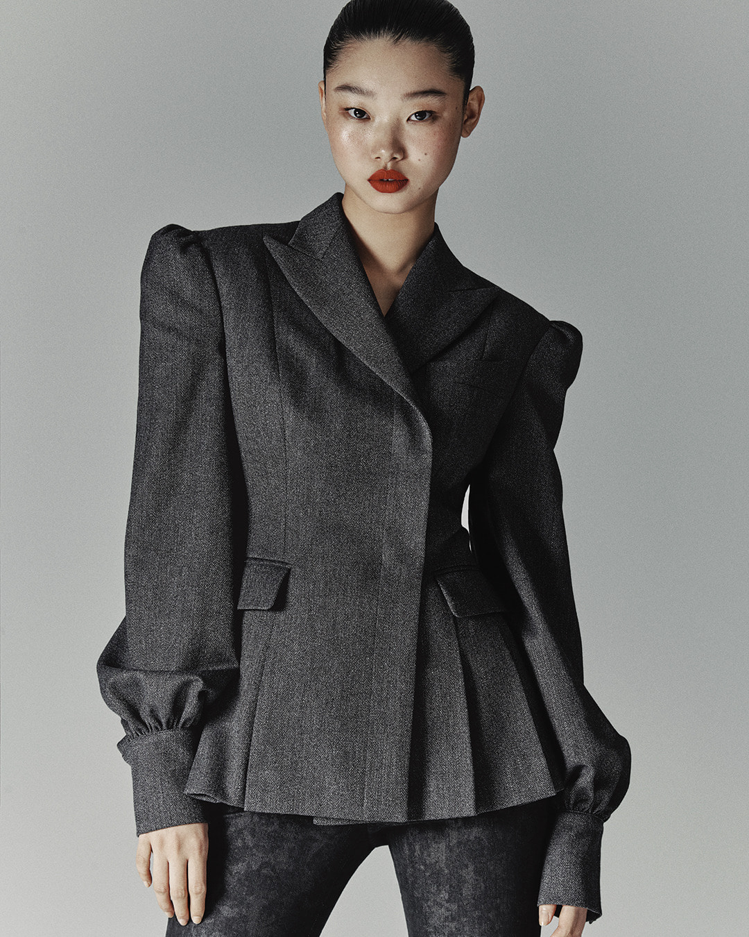 GRAY HERRINGBONE PUFF JACKET