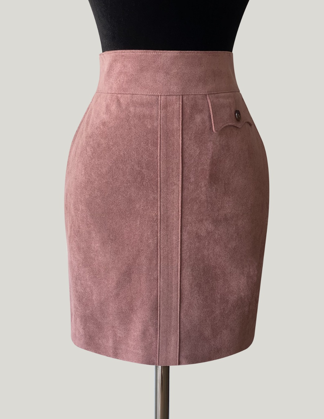 PINK MILITARY SUEDE SKIRT